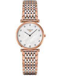 Longines - L45121977 Women's La Grande Classique Diamond Two Tone Bracelet Strap Watch - Lyst