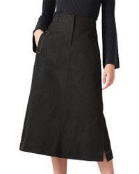 Jigsaw - Black Denim Midi Skirt - Lyst