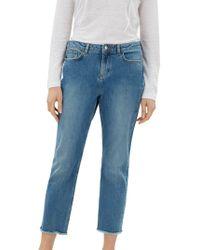 Jaeger - Straight Leg Frayed Hem Jeans - Lyst