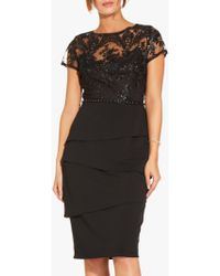Adrianna Papell - Knit Crepe Tiered Skirt Sequin Dress With Beaded Waistline - Lyst