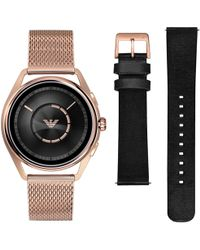 Emporio Armani - Connected Art9005 Men's Touch Screen Mesh Bracelet And Leather Strap Smartwatch - Lyst
