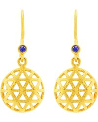 Auren - 18ct Gold Plated Small Triangle Sapphire Drop Earrings - Lyst