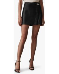 Reiss - Fenella Lock Leather Mini Skirt - Lyst