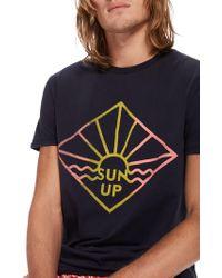Scotch & Soda - Short Sleeve Sun Print T-shirt - Lyst