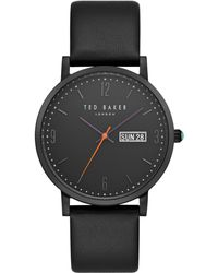 Ted Baker - Te15196012 Men's Grant Day Date Leather Strap Watch - Lyst