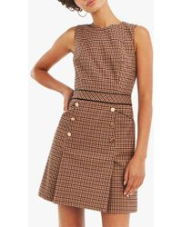 Oasis - Check Pinafore Dress - Lyst