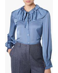 8aa9fcebe4b69a L.K.Bennett Desiree Blue Silk Top in Blue - Lyst