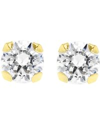 Ib&b | 9Ct Gold Round Cubic Zirconia Stud Earrings | Lyst