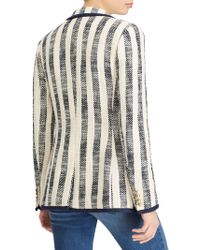 Lauren by Ralph Lauren - Stripe Print Jacket With Pockets - Lyst