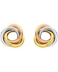 Ib&b | 9ct Three Colour Gold Knot Stud Earrings | Lyst