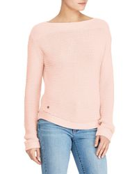Lauren by Ralph Lauren - Light Pink Boat Neck Jumper - Lyst