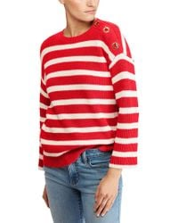 Lauren by Ralph Lauren - Striped Jumper With French Sleeves - Lyst