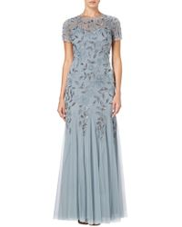 Adrianna Papell - Floral Beaded Godet Dress - Lyst