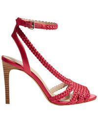 3c9d292a82dd Karen Millen Twist Peep Toe Stiletto Sandals in Blue - Lyst