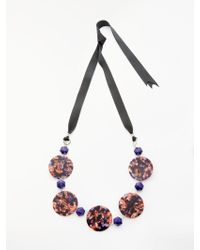 One Button - Statement Marble Disc Ribbon Necklace - Lyst