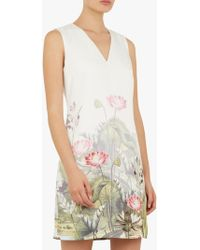 ad5ce5c2ade Ted Baker Hennee Printed Pleated Dress in Natural - Lyst