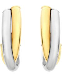 Ib&b - 9ct Gold 2 Tone Crossover Huggy Earrings - Lyst