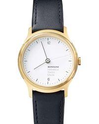 Mondaine - Mh1l1111lb Unisex Helvetica Leather Strap Watch - Lyst