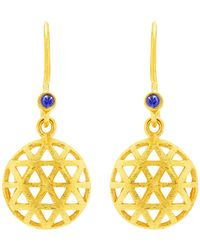 Auren | 18ct Gold Plated Small Triangle Sapphire Drop Earrings | Lyst