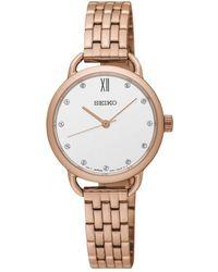 Seiko - Sur698p1 Women's Swarovski Crystal Bracelet Strap Watch - Lyst