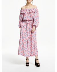 Somerset by Alice Temperley - Geometric Floral Off Shoulder Jumpsuit - Lyst