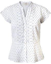 East - Polka Dot Dobby Peplum Shirt - Lyst
