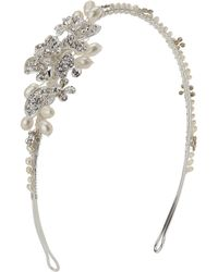 Ivory & Co. - Rosepetal Cubic Zirconia Pave And Freshwater Pearl Side Headpiece - Lyst
