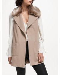 Trilogy - Luna Wool Blend Faux Fur Collar Gilet - Lyst