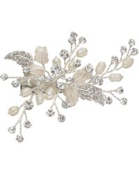 Ivory & Co. - Orchid Small Flower Crystal And Freshwater Pearl Hair Slide - Lyst