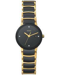 Rado - R30930712 Women's Centrix Jubile Diamond Bi-material Bracelet Strap Watch - Lyst