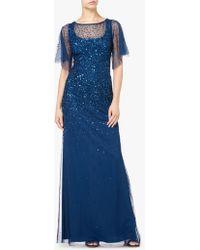 Adrianna Papell - Tulle Overlay Sequin Maxi Dress - Lyst