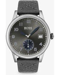 BOSS - 1513683 Men's Legacy Date Leather Strap Watch - Lyst