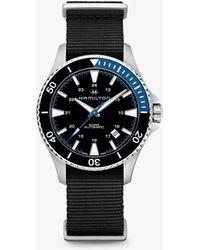 c1f6da46425 Hamilton - H82315931 Men s Khaki Automatic Date Fabric Strap Watch - Lyst