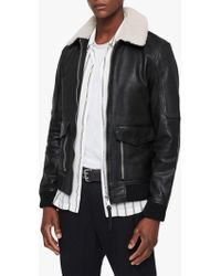 AllSaints - Bardell Aviator Leather Jacket - Lyst