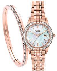 Citizen - Ew1683-65d Set Women's Silhouette Crystal Date Bracelet Strap Watch - Lyst
