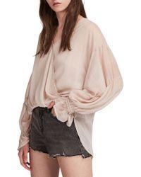 AllSaints - Hattie Stripe Mesh Top - Lyst
