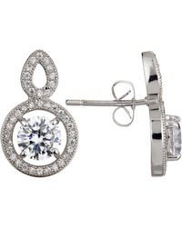 Ivory & Co. - Heritage Round Cubic Zirconia Pave Drop Earrings - Lyst