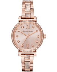 Michael Kors - Women's Sofie Crystal Flower Index Bracelet Strap Watch - Lyst