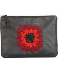 Gerard Darel - Leather Embroidered Flower Pouch - Lyst