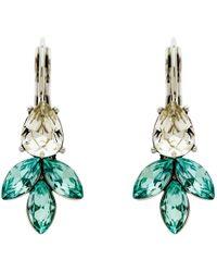 Monet - Navette Rhodium Plated Glass Crystal Stud Earrings - Lyst