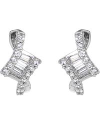 Ib&b - 9ct White Gold Cubic Zirconia Stud Earrings - Lyst