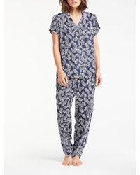 John Lewis - Frieda Leaf Print Satin Short Sleeve Pyjama Set - Lyst