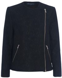 French Connection - Delunay Lace Stretch Biker Jacket - Lyst