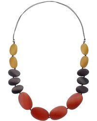 One Button | Long Graduating Pebble Necklace | Lyst