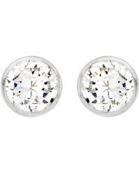 Ib&b - 9ct White Gold Small Rubover Cubic Zirconia Stud Earrings - Lyst