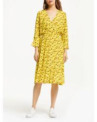 Numph - Kamila Dot Print Wrap Ruffle Dress - Lyst