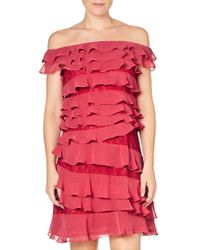 Adrianna Papell - Cynthia Lace Tiered Bardot Dress - Lyst