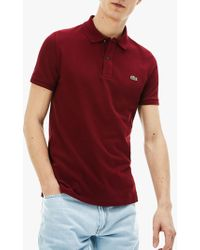 7f707fd2 Lacoste Slim Fit Twin Tipped Short Sleeve Polo Shirt in White for ...