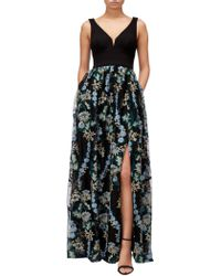 Adrianna Papell - Embroidered Tulle Maxi Dress - Lyst
