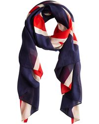 Joules - Gloria Union Jack Flag Cotton Scarf - Lyst
